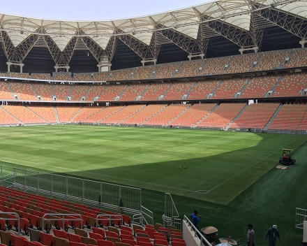 TerraCottem Turf application at the King Abdullah Stadium, Jeddah, Saudi Arabia.