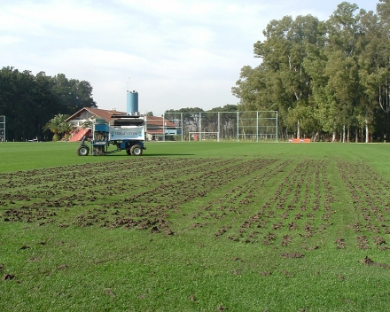 TerraCottem Turf application via Drill & Fill at A.F.A Asociación de Fútbol Argentina.