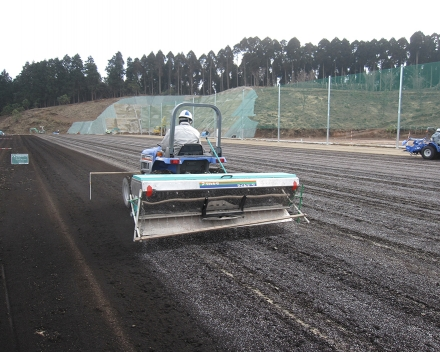 Application of TerraCottem Turf at Yame City football ground, Japan.