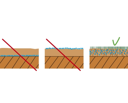 Do not put TerraCottem Turf at the bottom or on top of the root zone layer. Do mix TerraCottem Turf homogeneously throughout the root zone layer prior to seeding or laying turf.